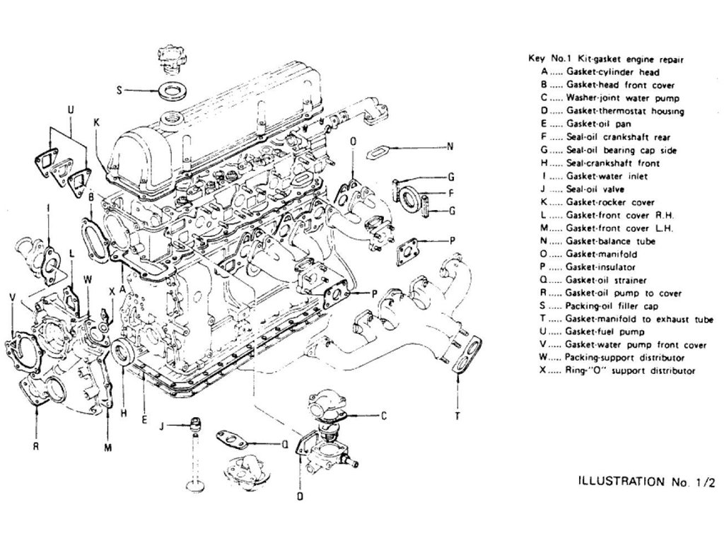 datsun z engine gasket kit l24, l26 (to nov \u002774)engine gasket kit (repair) l24, l26 (to nov