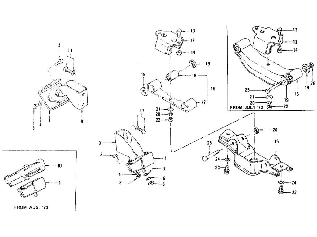 Engine Mounting(Manual From C/# Hls30-46001, Rls30, Grls30) L24, L26 (To Nov.-'74)
