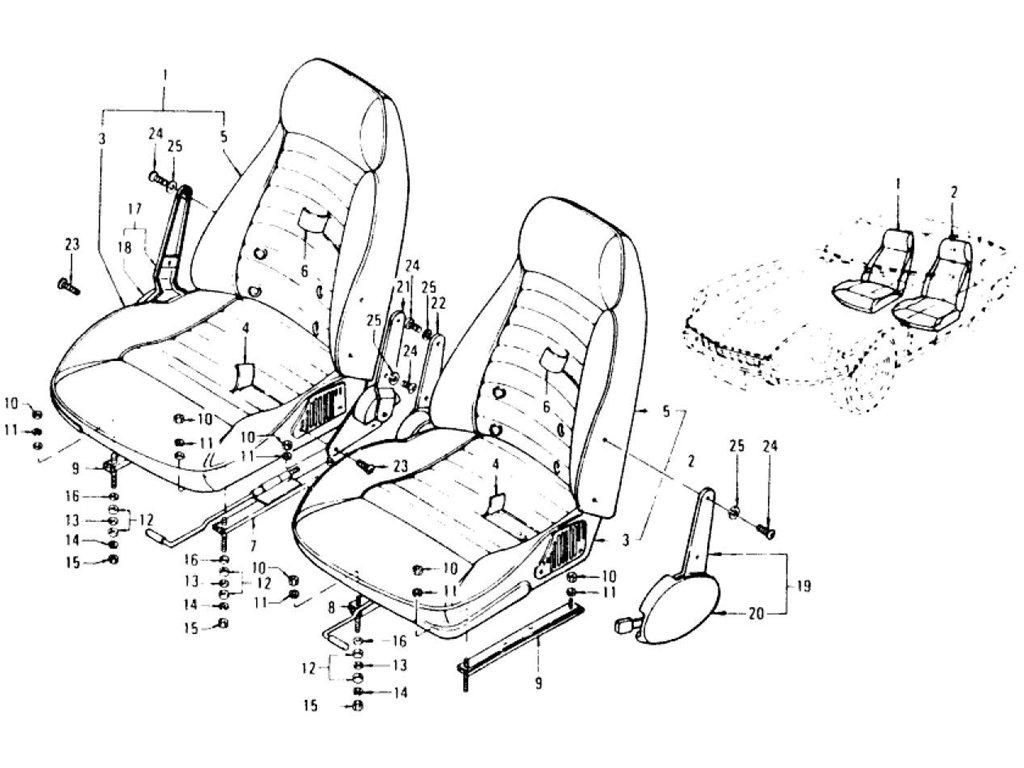 datsun z seat  u0026 slide  type 2 reclining seat   to jul