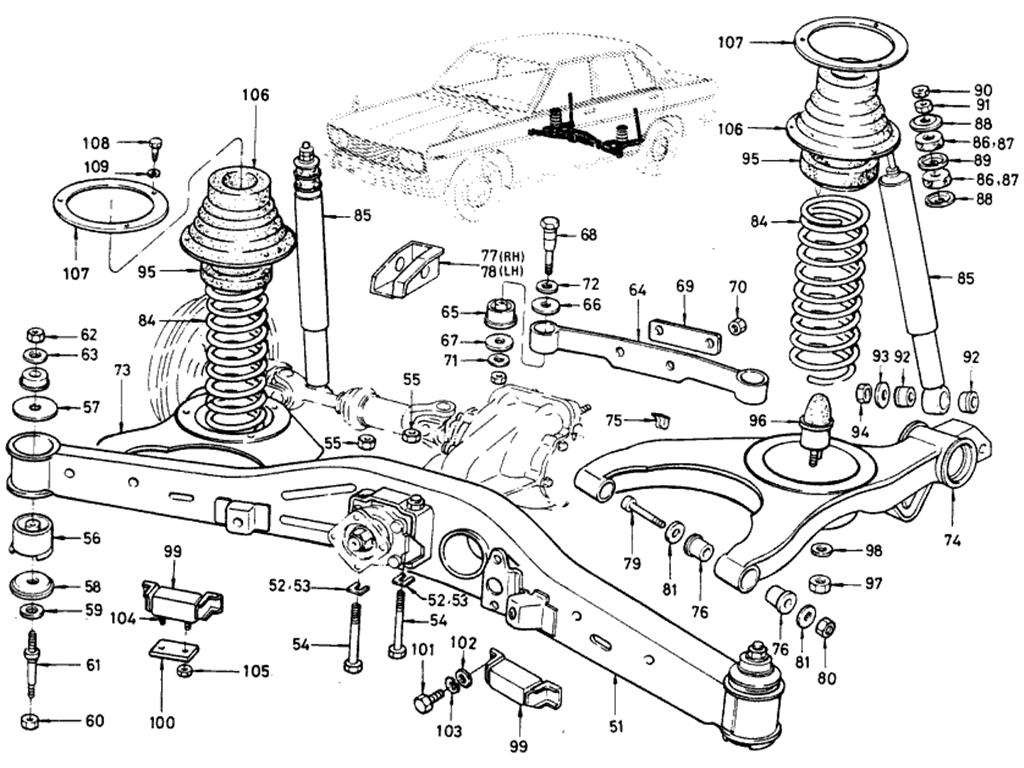 datsun 510 rear axle  u0026 suspension  sedan