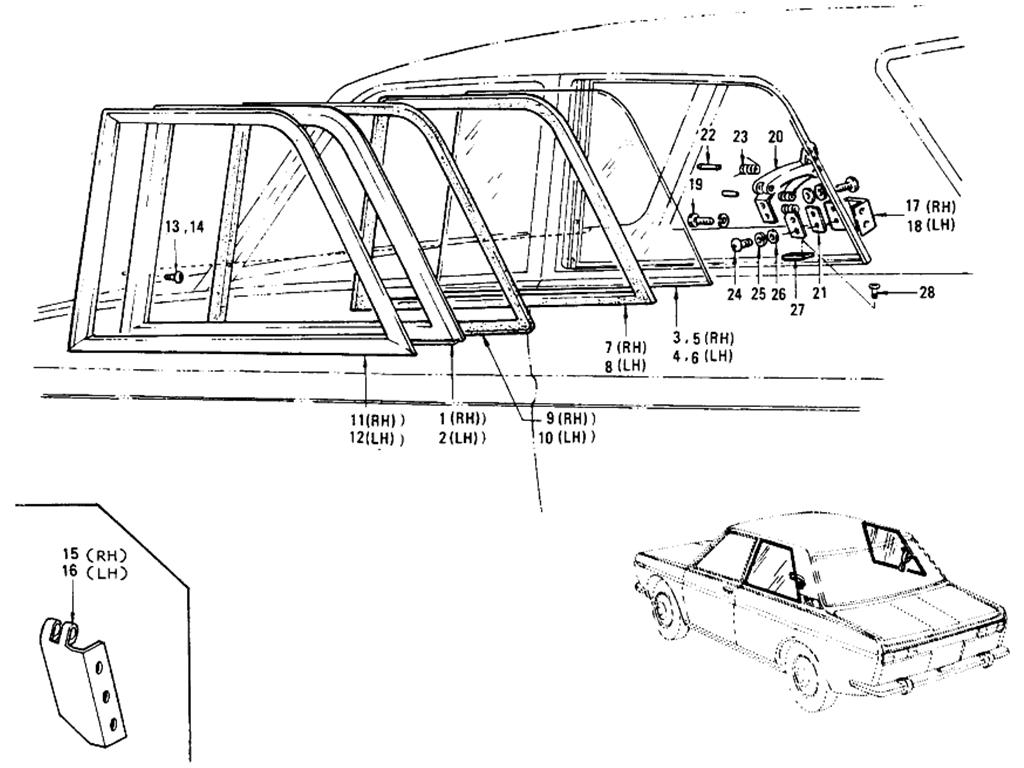 Datsun 510 Rear Side Window (Sedan 2 Door)