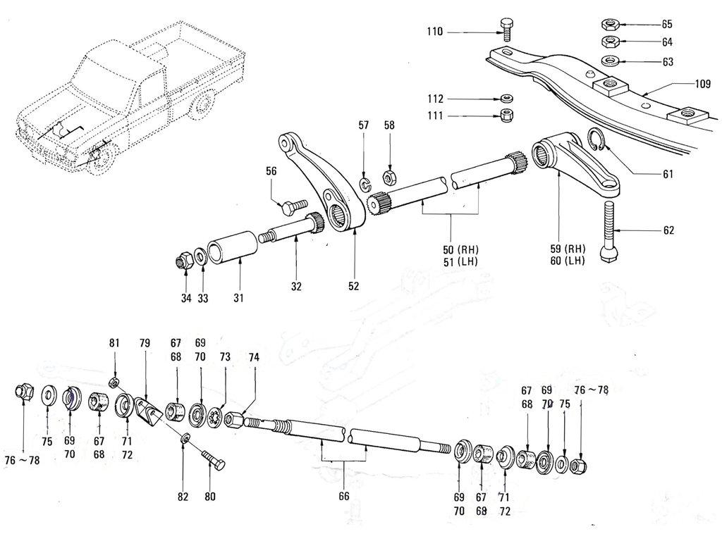 datsun 620 front suspension parts