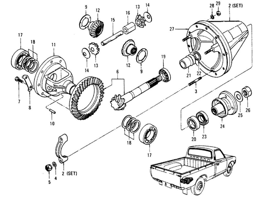 Datsun Pickup (620) Gear Carrier & Gear (Differential) (To ...