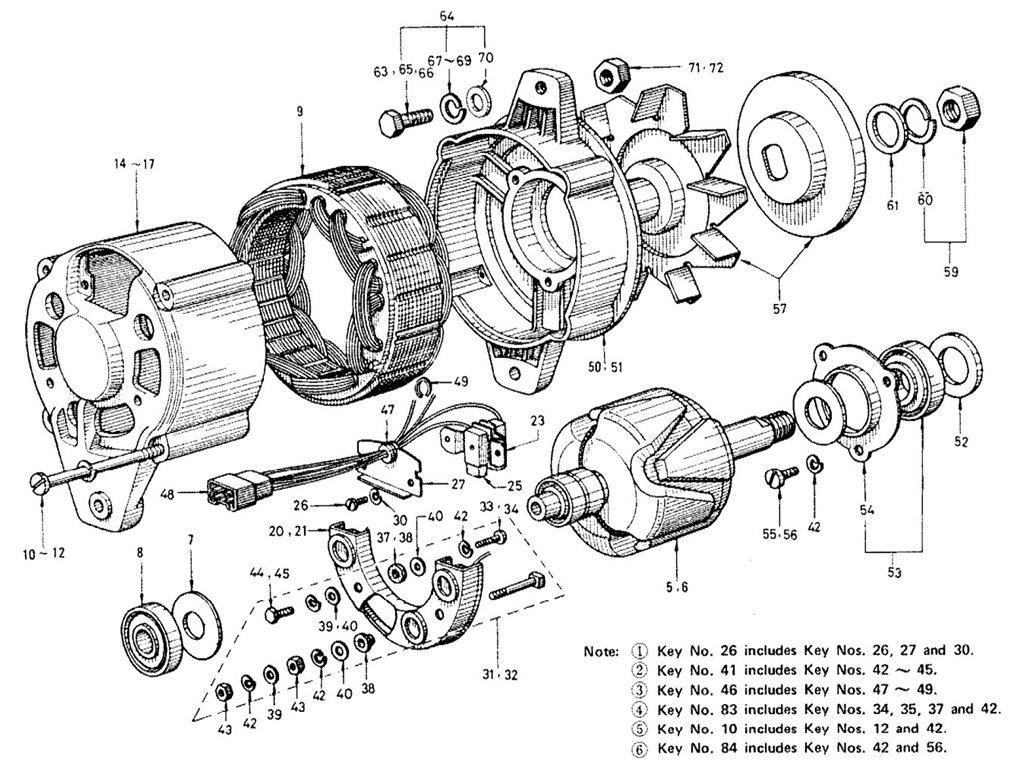 datsun sports 1600  2000 1600  r16  alternator  exc