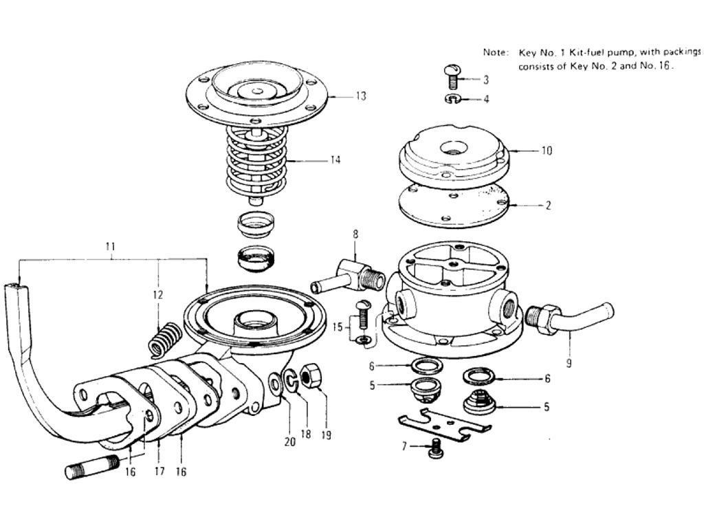 Datsun Pickup 620 Fuel Pump L18 1972 1979 Key 6