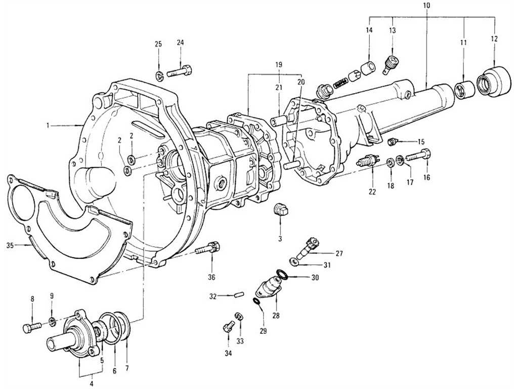 Transmission Case, Rear Extension & Speedometer Pinion (4 Speed)