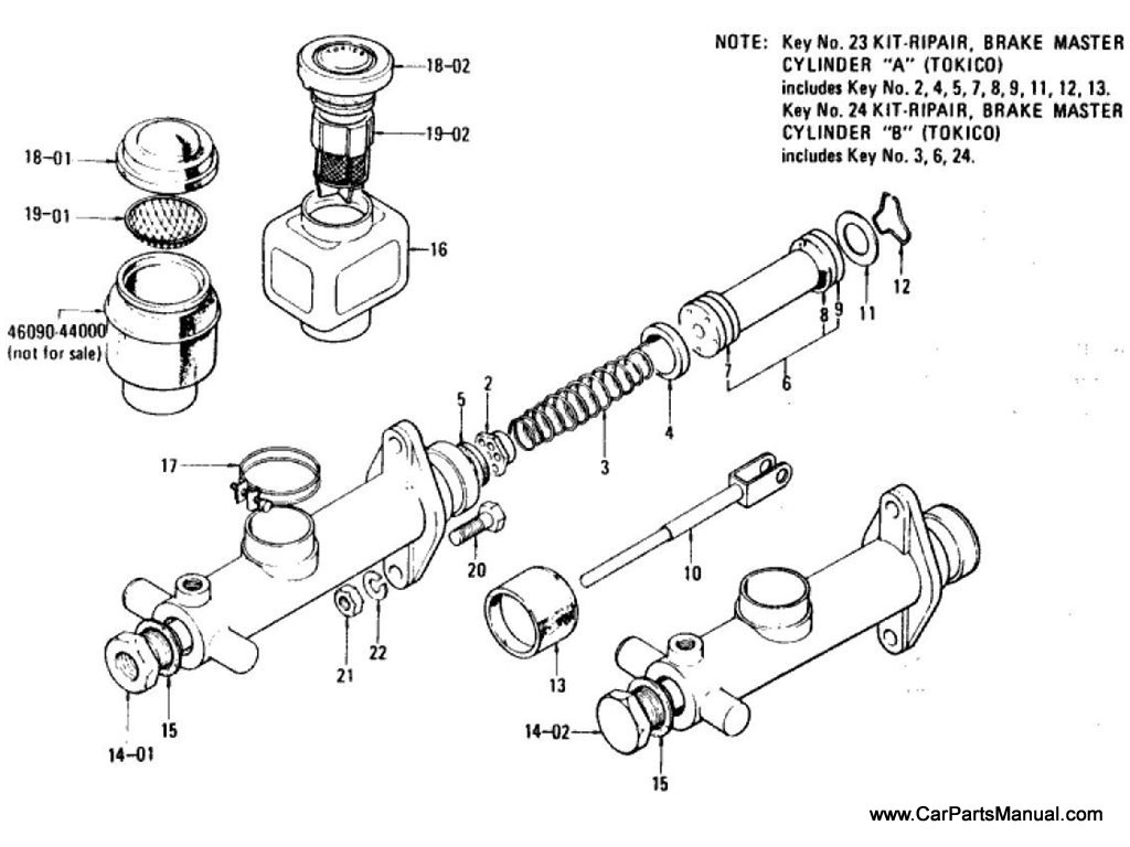 Nissan Patrol 60 Brake Master Cylinder Single Diagram